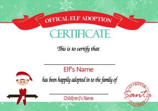 Personalised Elf on the Shelf Adoption Certificate